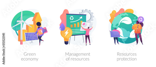 Eco friendly technologies flat icons set. Alternative energy, waste recycling. Green economy, management of resources, resources protection metaphors. Vector isolated concept metaphor illustrations