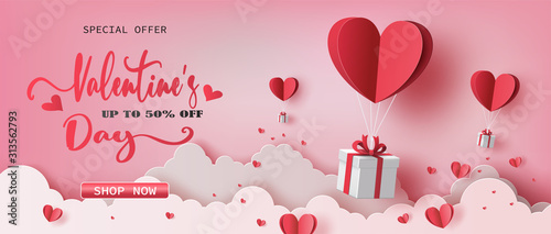Fotografiet Gift boxes with heart balloon floating it the sky, Happy Valentine's Day banners, paper art style