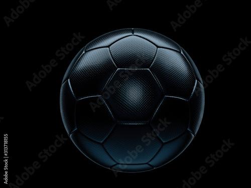 Wallpaper Mural Black football or soccer ball against black background