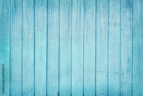 Fototapeta Vintage painted wooden wall background, texture of blue pastel color with natural patterns for design art work