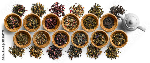 Fotografia Large set of tea on a white background. The view from the top