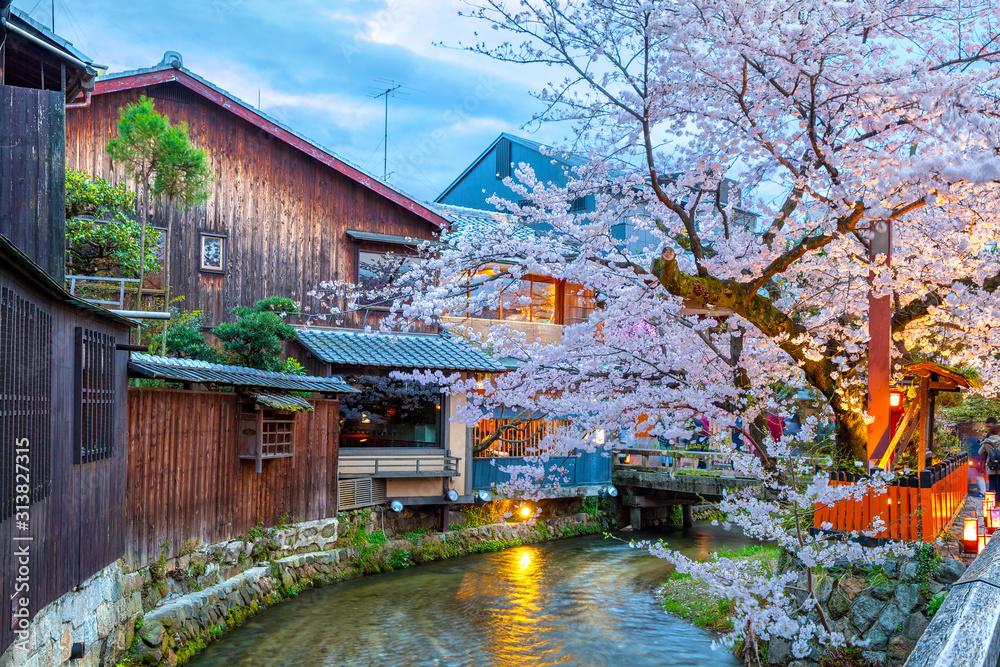 Kyoto, Japan at the Shirakawa River in the Gion District during the spring cherry blosson season. <span>plik: #313827315   autor: Sean Hsu</span>