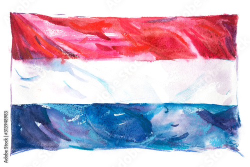 Wallpaper Mural Flag of the Netherlands. Hand drawn watercolor illustration.
