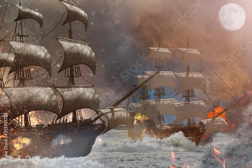Canvas Print sea battle pirate ship 3d render