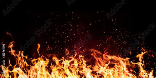 Obraz na płótnie flames of fire on a black background