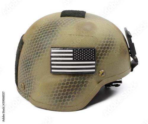 Photo Camouflage military helmet isolated on white background