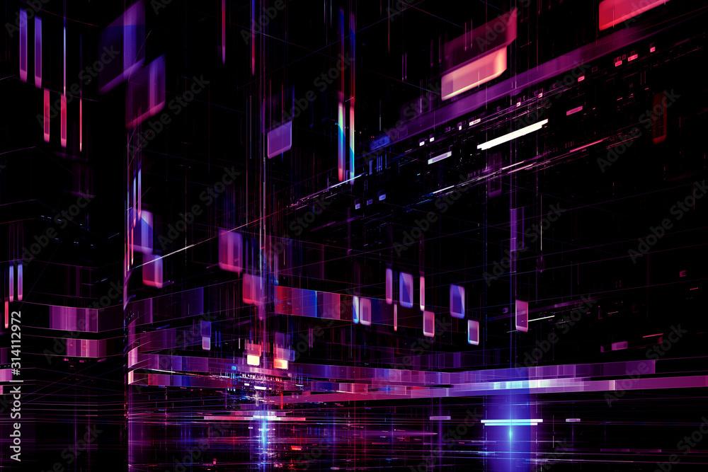Abstrakcjonistyczny cyfrowy futurystyczny neonowy purpurowy błękitny tło <span>plik: #314112972 | autor: pixel</span>
