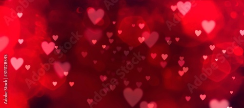 Canvastavla Valentines day background banner - abstract panorama background with red hearts