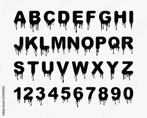 Dripping blood alphabet with splattered blood stains Fototapeta