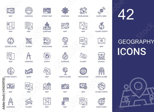 Tablou Canvas geography icons set
