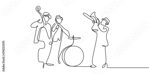 Stampa su Tela continuous line drawing of jazz music.