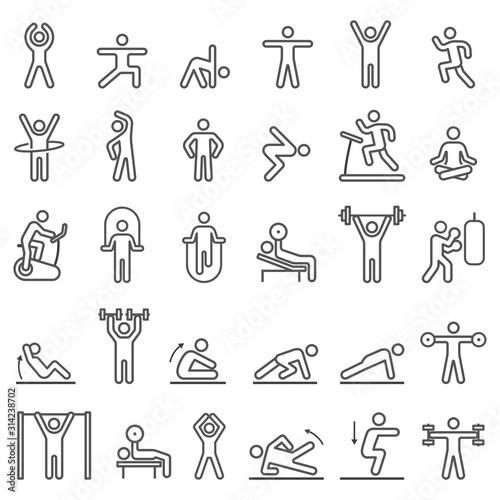 Fototapeta Fitness exercise workout line icons set. Vector illustrations.