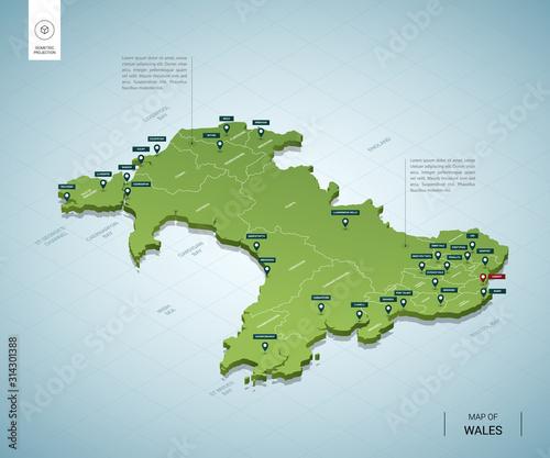 Fotografia Stylized map of Wales