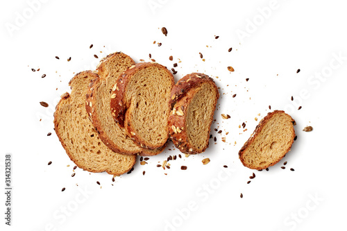 A loaf of sliced bread with oats and flax seeds Fotobehang