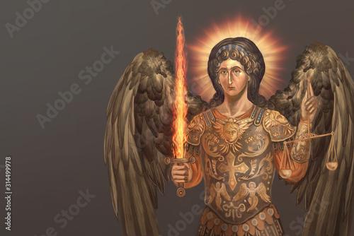 Foto st. archangel Michael with burning sword