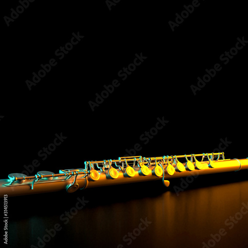 Slika na platnu transverse metal flute on black background