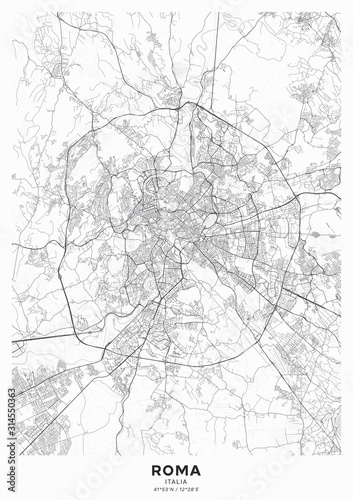 Fotografie, Obraz Rome city map poster