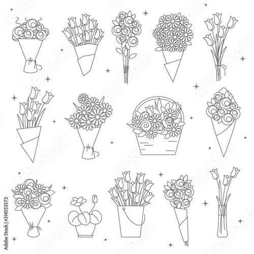 Fotografia flowers and bouquet thin line icon set