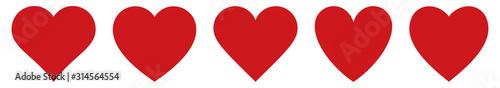 Fotografiet Red heart icons set vector