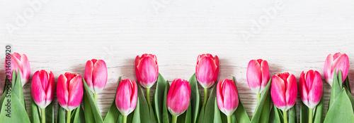 Fototapeta premium Piękne różowe tulipany na podłoże drewniane.