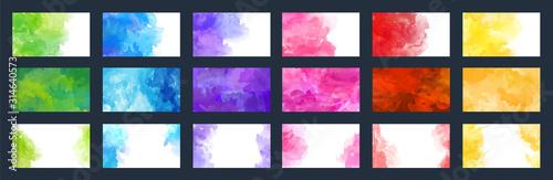 Fotografie, Tablou Big bundle set of bright vector colorful watercolor background for poster, broch