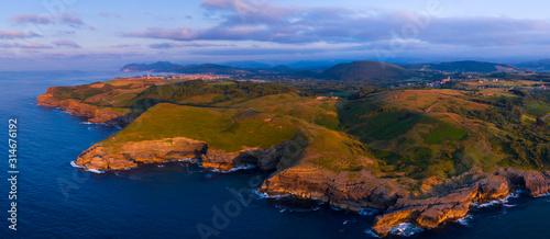 Aerial View, Punta Cueva Colina, Ecoparque Trasmiera, Arnuero Municipality, Cantabria, Cantabrian Sea, Spain, Europe