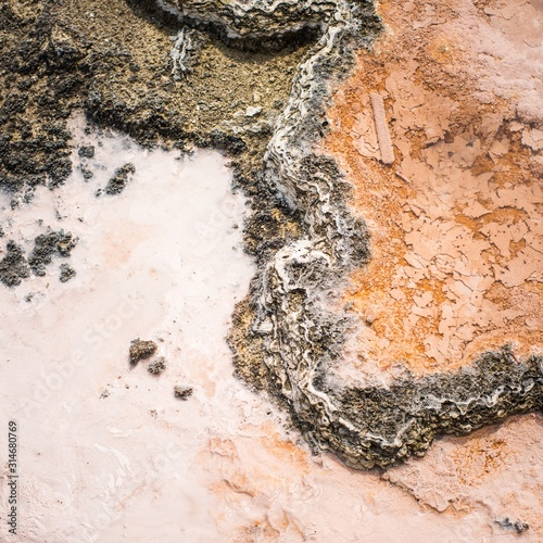 Fotografia, Obraz Concrete wet rocky surface with interesting textures in Yellowstone
