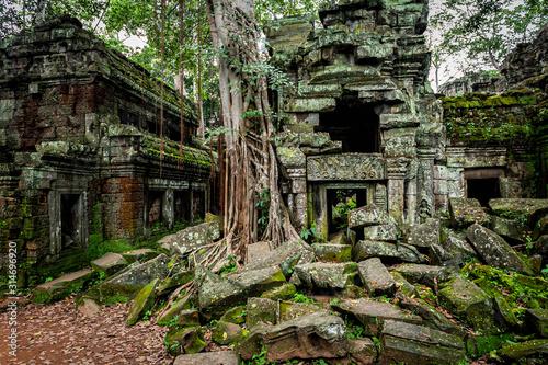 Fototapeta premium Świątynie Angkor Wat, gdzie dżungla częściowo zarosła ruiny w pobliżu miasta Siem Reap w Kambodży