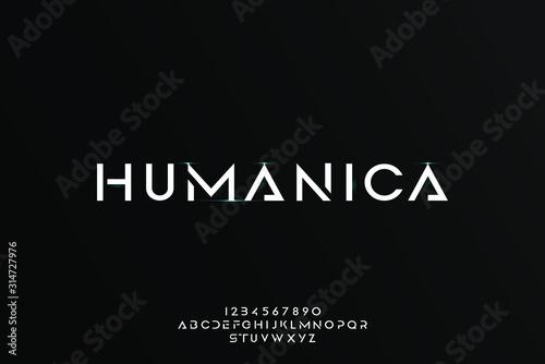 Wallpaper Mural Humanica, an Abstract technology futuristic alphabet font