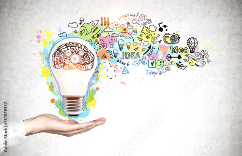 Man hand showing creative idea sketch