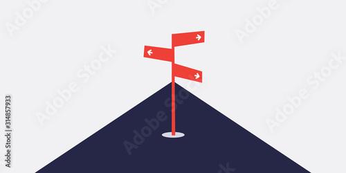 Obraz na plátně Business Decision Design Concept with Road Sign - Eps10 Vector Illustration