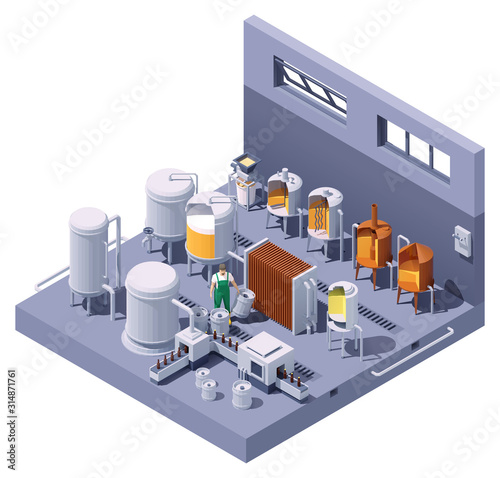 Vector isometric craft beer brewery interior Poster Mural XXL
