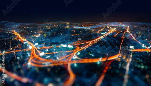 Photographie Wireless network and Connection technology concept with Abstract Bangkok city ba