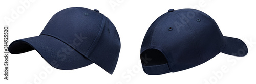 Fototapeta Blue baseball cap in angles view front and back