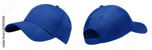 Obraz na plátně Blue baseball cap in angles view front and back