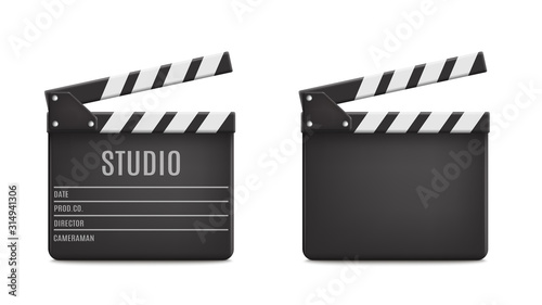 Photo Vector 3d Realistic Opened Movie Film Clap Board Icon Set Closeup Isolated on Transparent Background