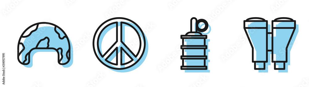 Set line Hand grenade , Military helmet , Peace and Binoculars icon. Vector <span>plik: #314957991 | autor: Oksana</span>