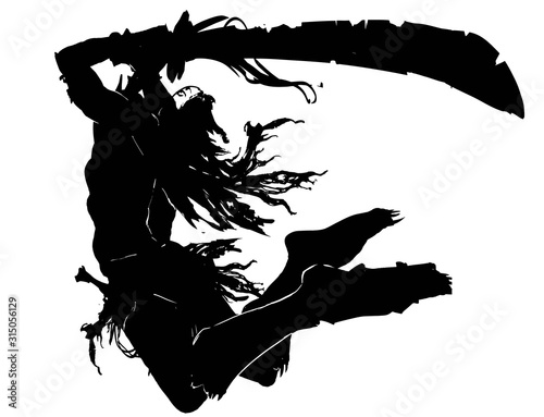 Fotografia The silhouette of an Orc with a long curved sword with notches in a ragged cloak with long hair, jumping to attack in an epic pose