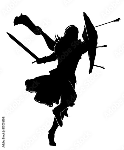 Fotografie, Obraz The silhouette of a warrior with a sword in one hand and a shield with protruding arrows in the other, running to attack