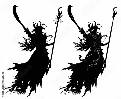 Fényképezés The black silhouette of a soaring demon of a sorcerer with a curved sword, a staff, in a horned helmet, gives the order to attack, wearing black tattered rags on it