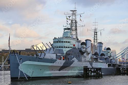 Canvas Print HMS Belfast Museum Ship in London