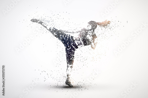 Photo silhouette of a kickboxing from particles 2, silver light background