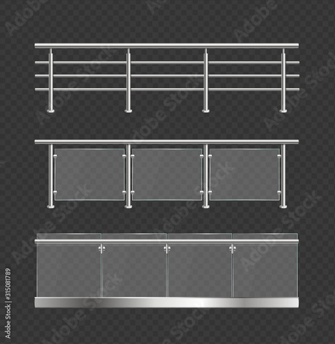 Photo Realistic Detailed 3d Glass Balustrade with Metal Handrails Set