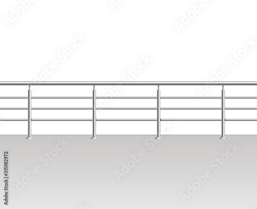 Canvas Print Realistic Detailed 3d Metal Modern Balcony or Terrace. Vector