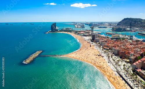 Barcelona central beach aerial view Sant Miquel Sebastian plage La Barceloneta district and port catalonia