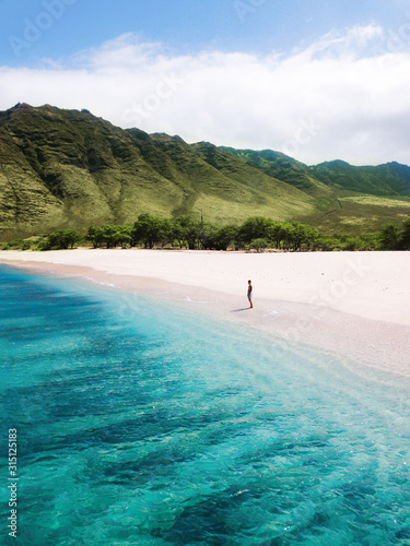 Stampa su Tela Man walking on the beach - Tropical paradise beach with white sand and mountain background travel tourism wide panorama background