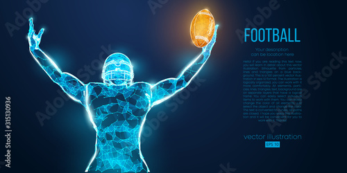 Fotografia Abstract football player from particles, lines and triangles on blue background