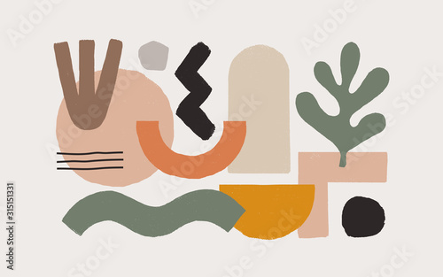 Collection of fashionable abstract graphic shapes on a light background. Minimalist forms in the style of modern art. Universal vector illustration for your design in a flat style.