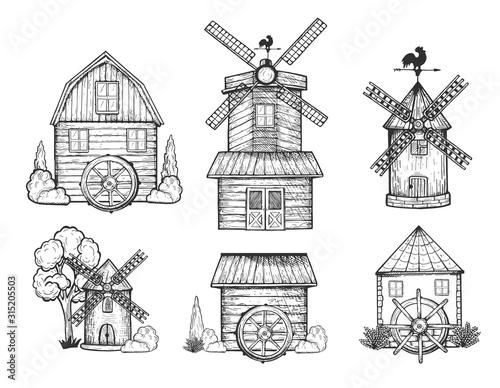 Rural windmill and watermill set Fototapeta