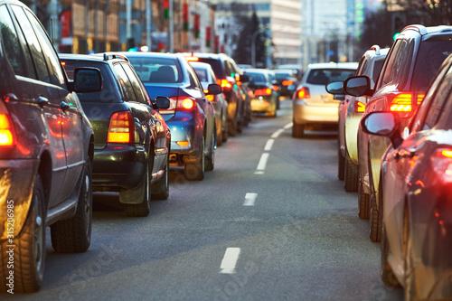 Obraz na plátně traffic jam or collapse in a city street road